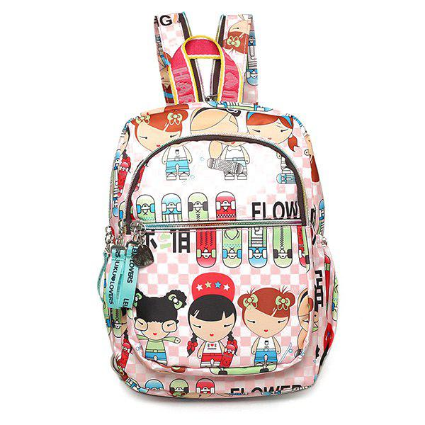Sweet Girl's Print and Multicolor Design Women's Backpack - LIGHT PINK