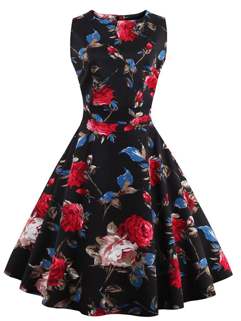 Vintage Sleeveless Floral Pattern Women's Dress - BLACK 4XL