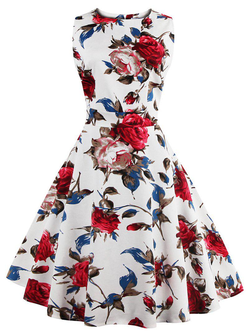 2018 Vintage Sleeveless Floral Pattern Womens Dress White M In