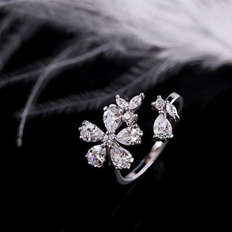 Floral Rhinestoned Cuff Ring - SILVER ONE-SIZE
