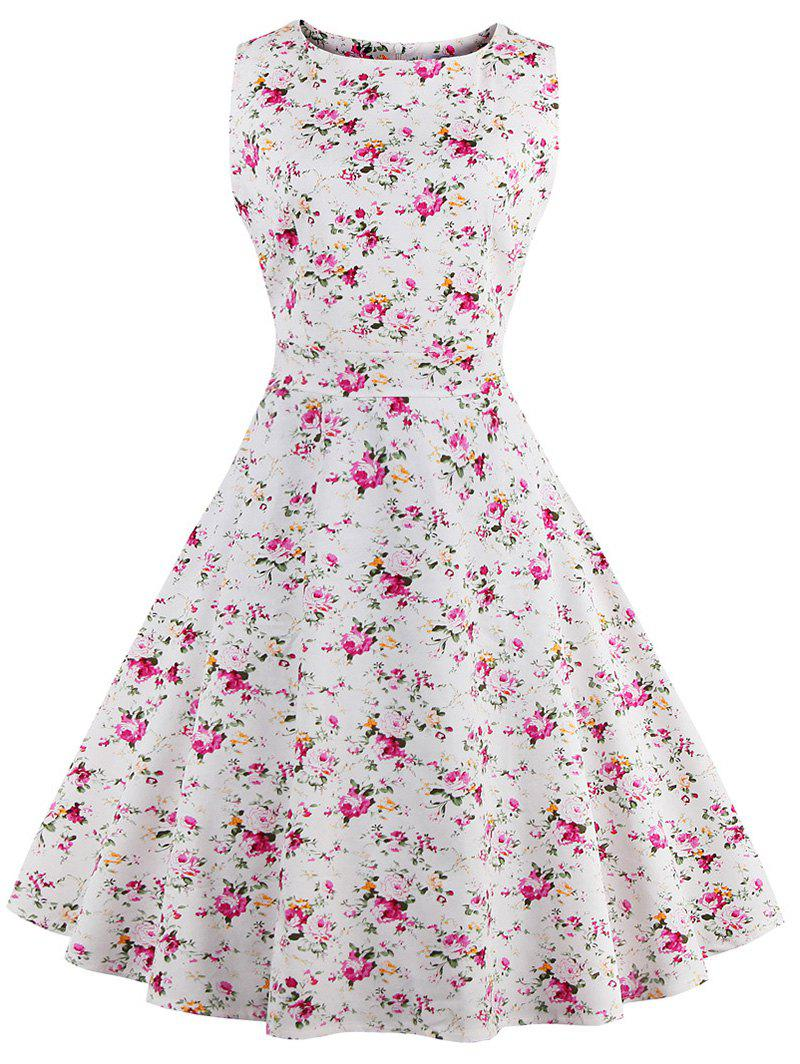 Sleeveless Tiny Floral 50s Swing Dress - WHITE 4XL