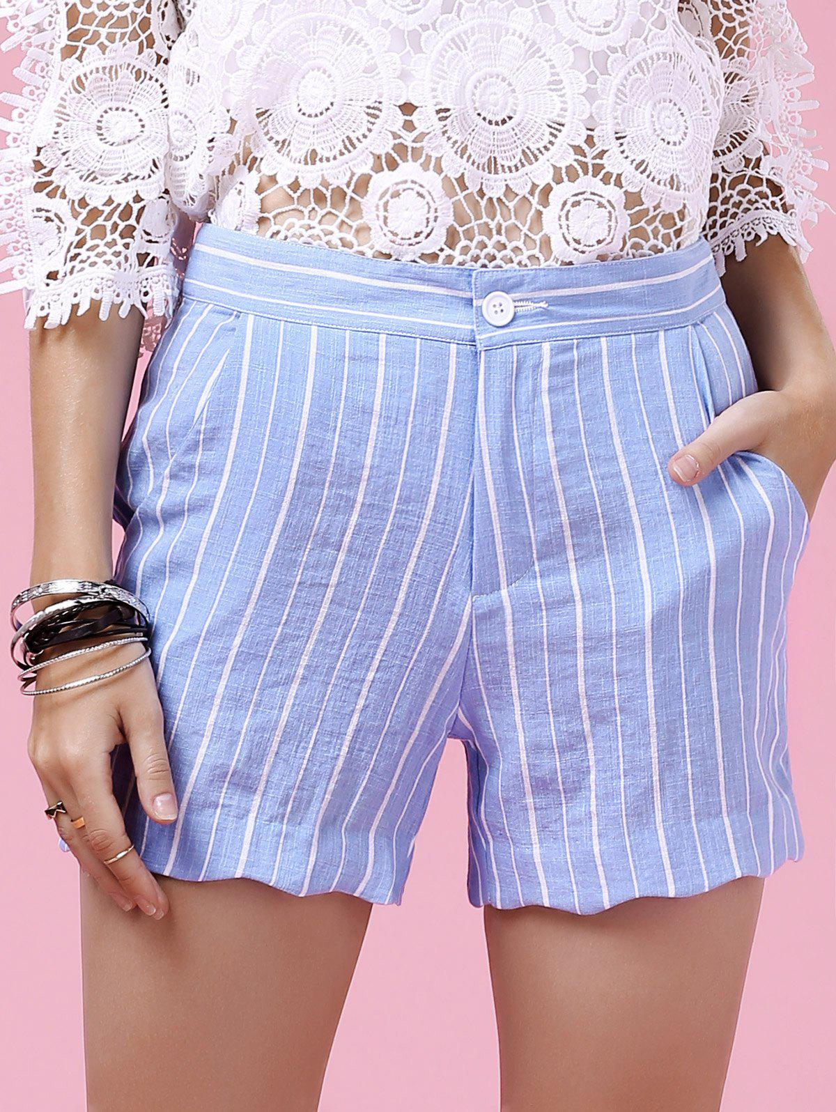 Sweet Striped Wavy Hem Design Shorts For Women - BLUE/WHITE M