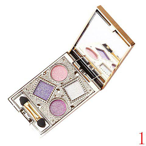 Cosmetic 4 Colours Nude Makeup Sparkly Diamond Eye Shadow Palette with Mirror and Brush -