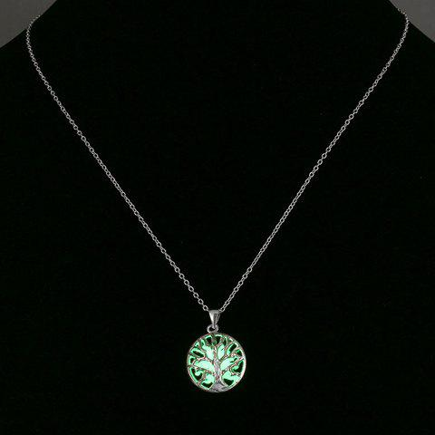 Circular Branches Pendant Noctilucent Necklace - NEON GREEN
