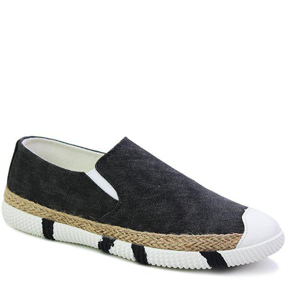 Concise Elastic and Weaving Design Mens Casual ShoesShoes<br><br><br>Size: 41<br>Color: BLACK