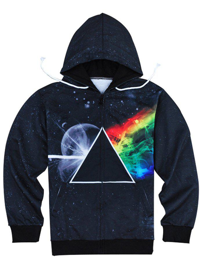 Slimming Fashion Hooded 3D Universe Print Long Sleeve Men's Cotton Blend Hoodie - BLACK S