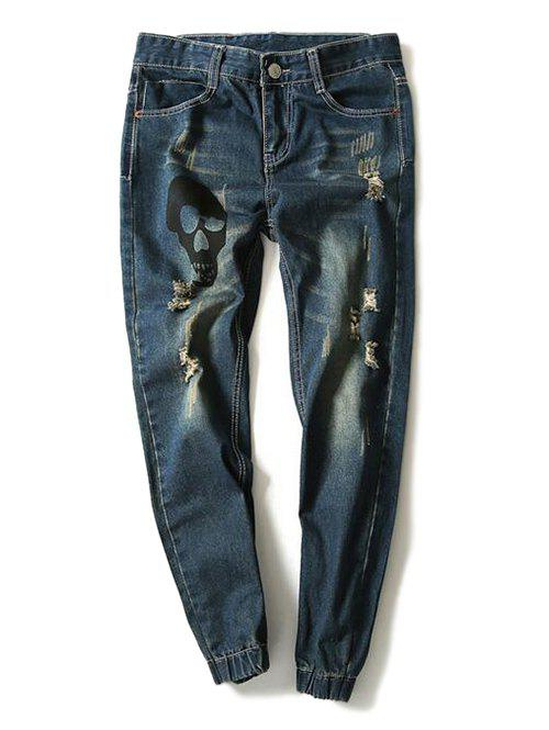 Skull Printed Distressed Jogger Jeans - BLUE 33