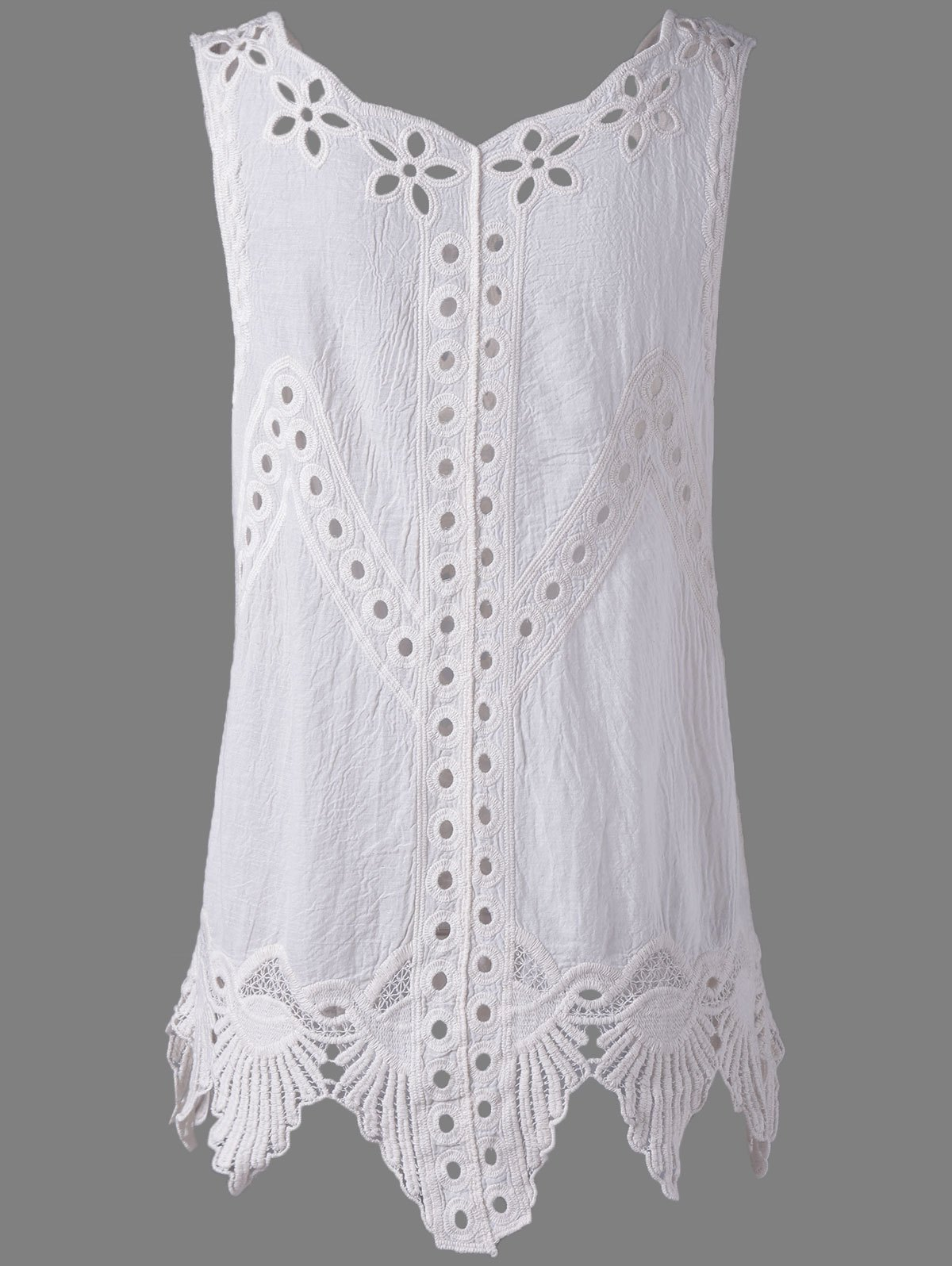 Bohemian Women's Scoop Neck Solid Color Crochet Sleeveless Blouse - WHITE ONE SIZE