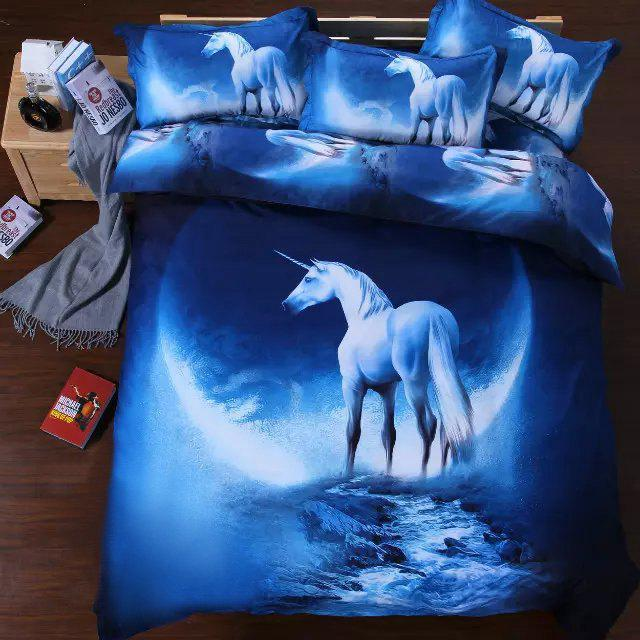 Stylish 3D Unicorn Night Sky Pattern Duvet Cover 4 PCS Bedding ( Without Comforter ) - COLORMIX