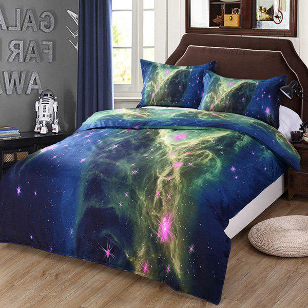Chic 3D Starry Sea Wave Pattern Duvet Cover 4 PCS Bedding ( Without Comforter ) - COLORMIX