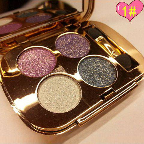 Cosmetic 4 Colours Smokey Eye Sparkly Diamond Eye Shadow Palette with Mirror and Brush