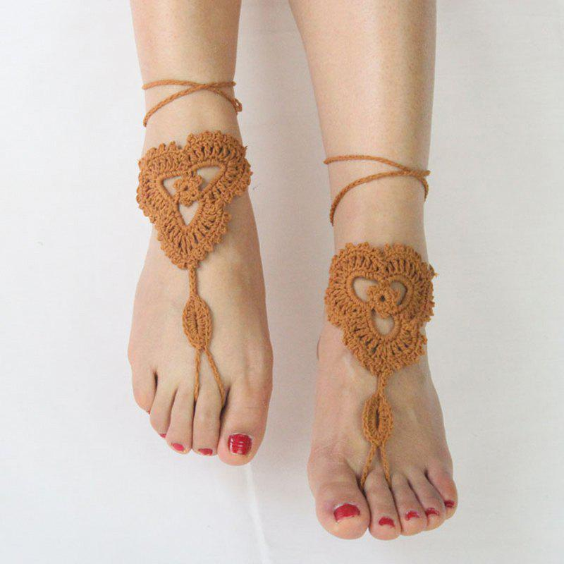 Pair of Charming Floral Woven Sandal Anklets For Women - BROWN