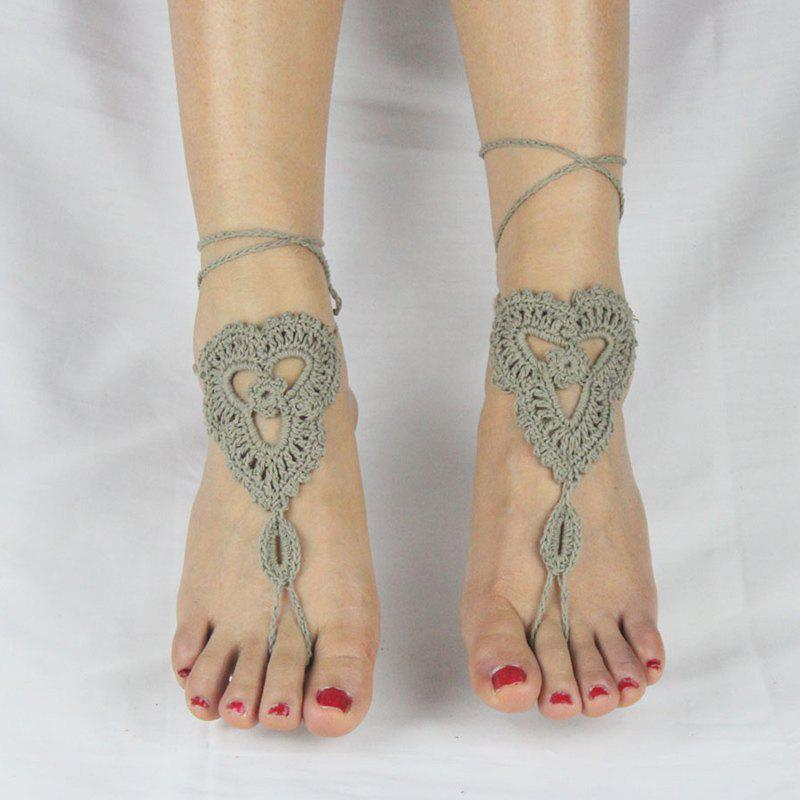 Pair of Charming Floral Woven Sandal Anklets For Women - GRAY