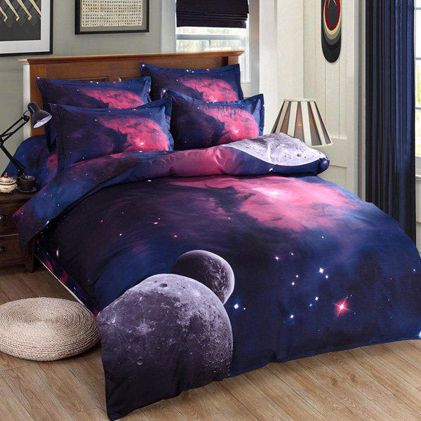 Stylish 3D Planet Pattern Duvet Cover 4 PCS Bedding ( Without Comforter )