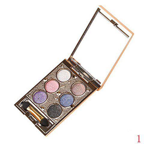 Cosmetic 6 Colours Sparkly Diamond Earth Tone Eye Shadow Palette with Mirror and Brush -