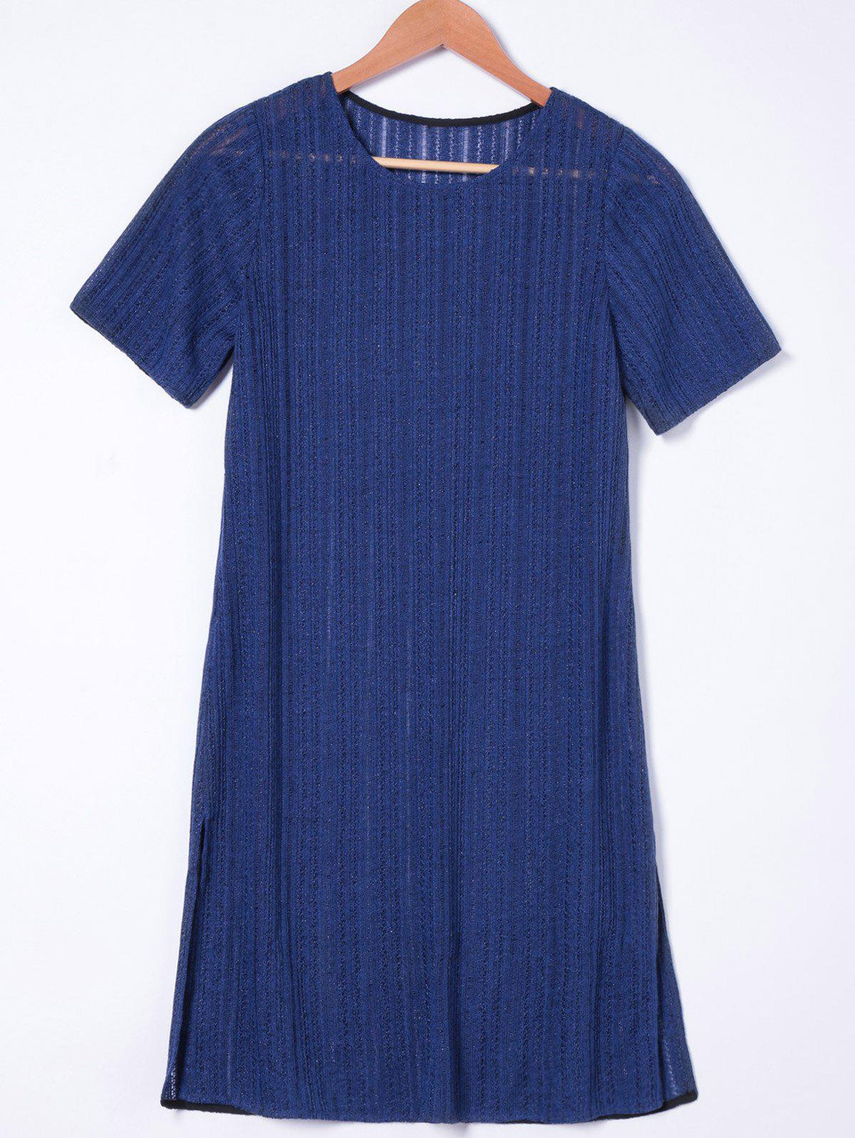Fashionable Women's Jewel Neck Loose-Fitting Short Sleeves Dress - NAVY BLUE XL