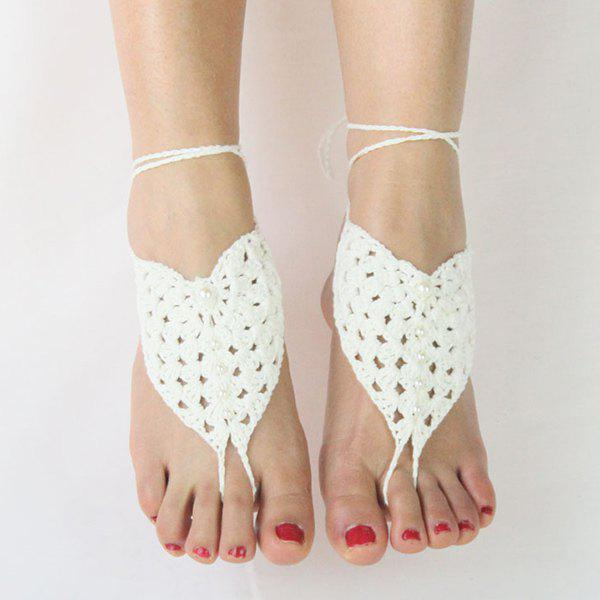 Pair of Charming Faux Pearl Woven Sandal Anklets For Women - WHITE