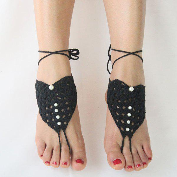 Pair of Charming Faux Pearl Woven Girl Sandal Anklets - BLACK
