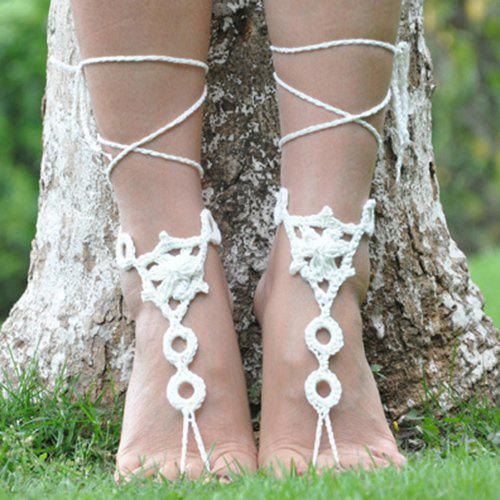 Pair of Gorgeous Floral Round Woven Girl Sandal Anklets - WHITE