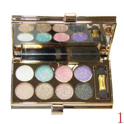 Cosmetic 8 Colours Sparkly Diamond Earth Tone Eye Shadow Palette with Mirror and Brush -