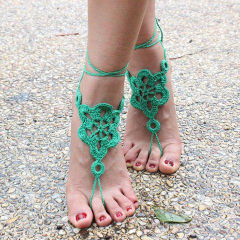 Pair of Gorgeous Solid Color Floral Woven Sandal Anklets For Women - GREEN