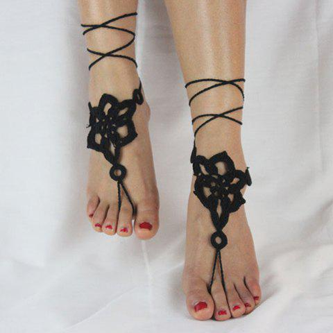 Pair of Gorgeous Solid Color Floral Woven Sandal Toe Ring Anklet - BLACK
