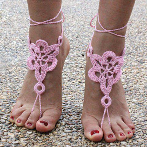 Pair of Gorgeous Solid Color Floral Woven Sandal Toe Ring Anklet - PINK