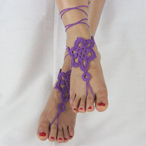 Pair of Gorgeous Solid Color Floral Woven Sandal Toe Ring Anklet - PURPLE