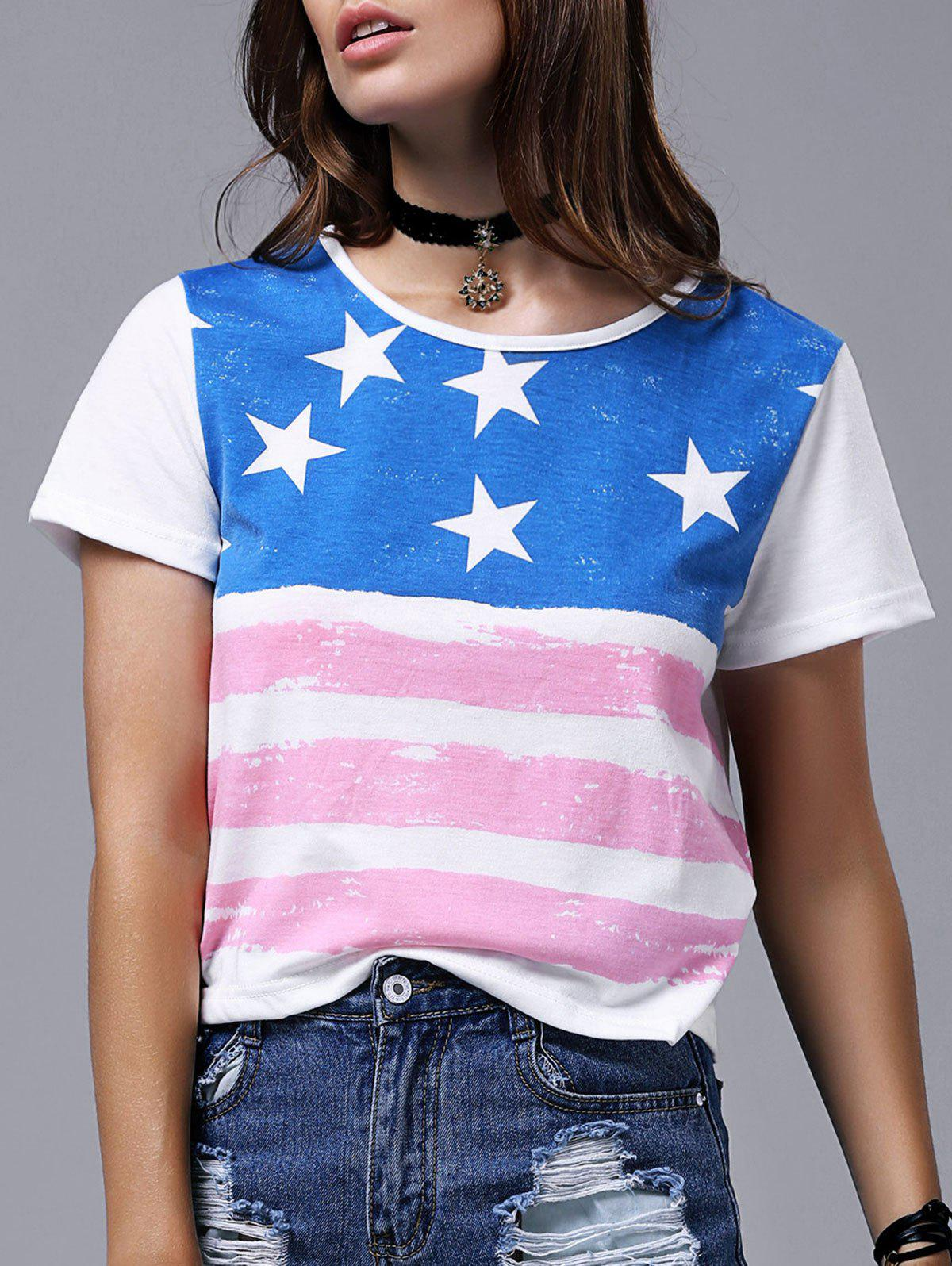Chic Women's Round Neck Short Sleeve Flag Print T-Shirt - RED/WHITE/BLUE 2XL