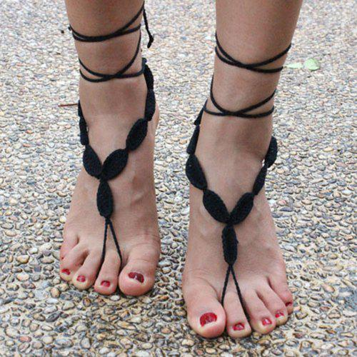 Pair of Gorgeous Woven Sandal Thread Toe Ring Anklet - BLACK