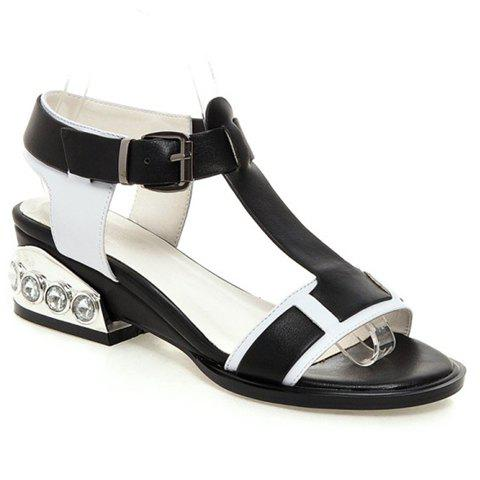 Preppy Style Rhinestones and Buckle Strap Design Sandals For Women - BLACK 39