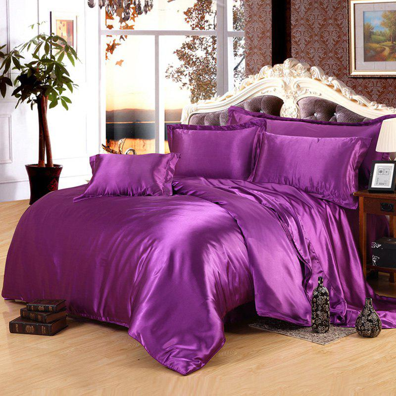 Chic Solid Color Imitated Silk Duvet Cover 4 PCS Bedding ( Without Comforter ) - VIOLET