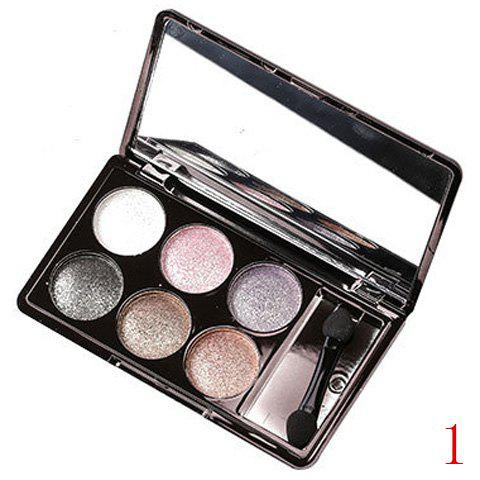Cosmetic 6 Colours Earth Tone Sparkly Diamond Eye Shadow Palette with Mirror and Brush -