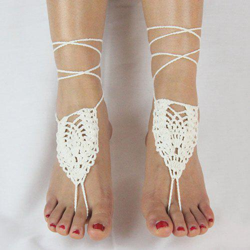 Pair of Gorgeous Geometric Woven Sandal Anklets For Women