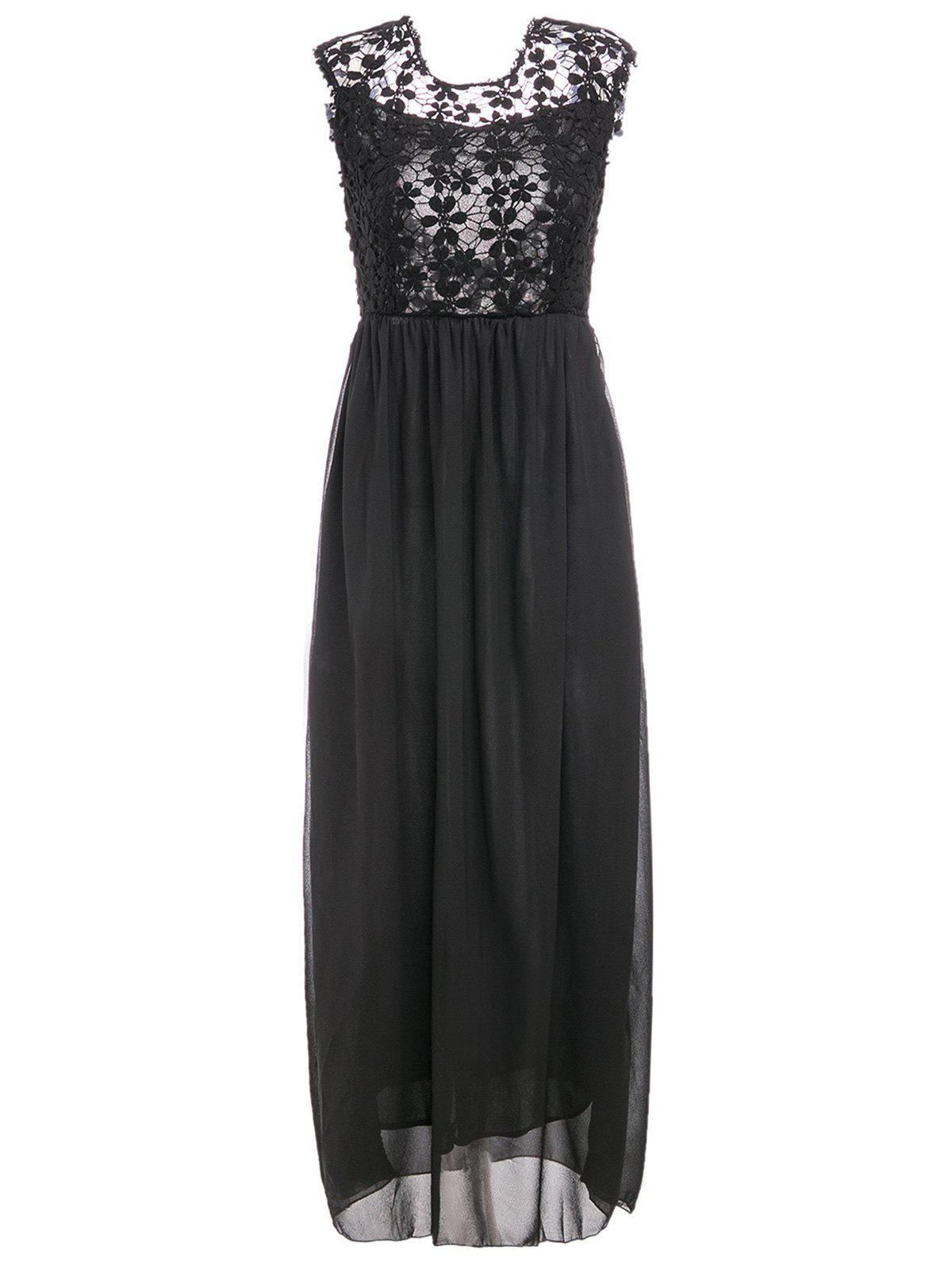 Sexy Style Backless Sleeveless Round Collar Hollow Out Design Maxi Dress - BLACK M