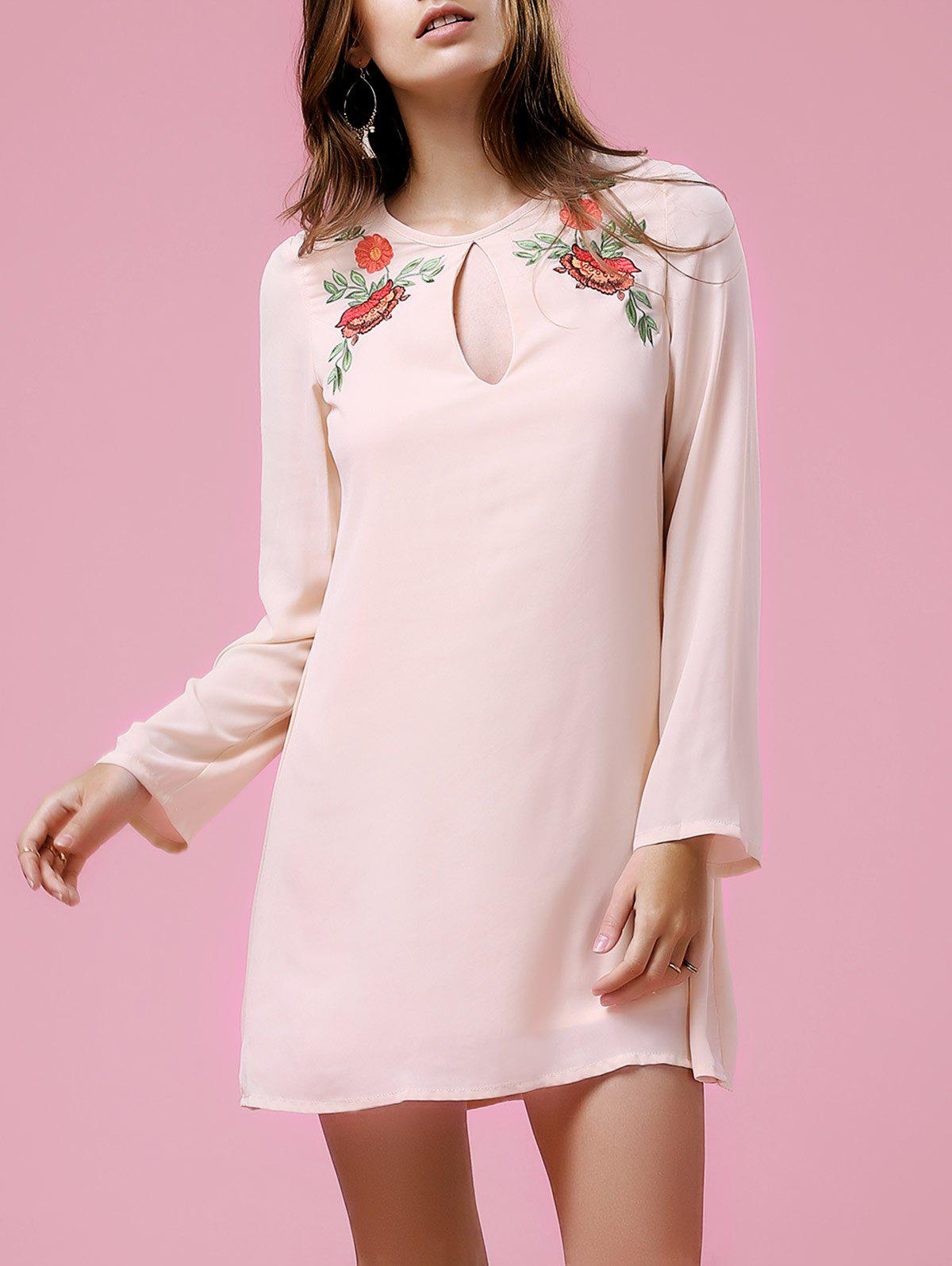 Casual Women's Long Sleeve Round Neck Floral Embroidery Dress - LIGHT PINK XL