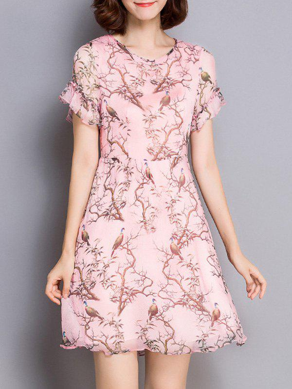 Sweet Style Flounced Bird Print Women's Dress - PINK 2XL