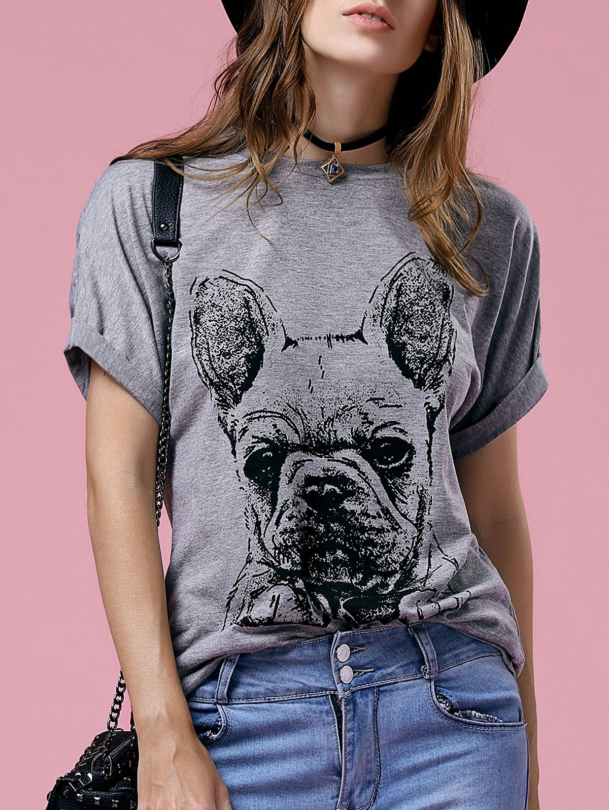 Casual Women's Short Sleeve Round Neck Bulldog Pattern T-Shirt - GRAY 2XL
