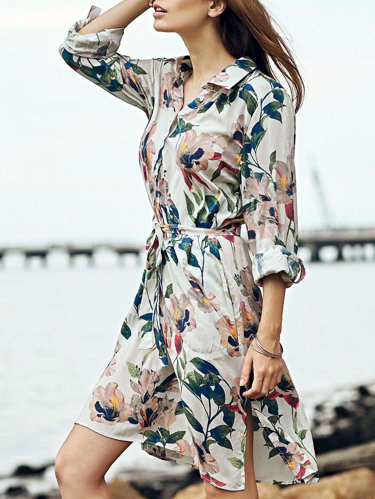 Retro Polo Collar Tie Front Long Sleeve Floral Print Dress For Women - COLORMIX 2XL