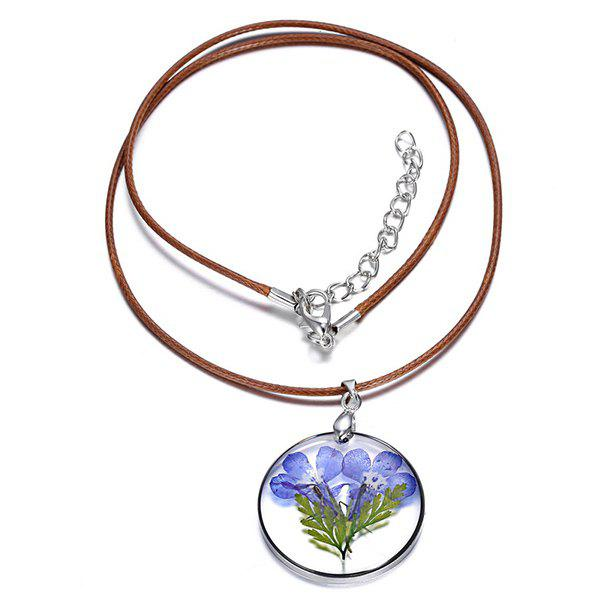 Dried Flower Round Pendant Necklace - BLUE