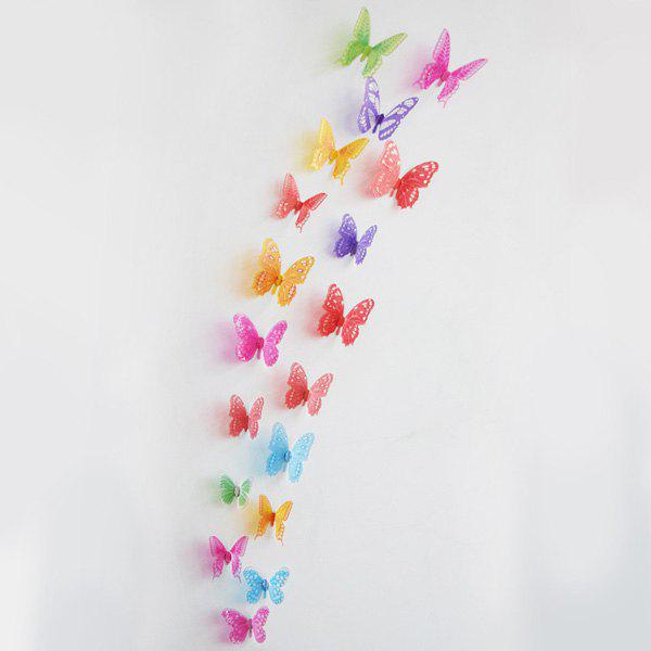 18PCS Stylish 3D Colorful Butterflies Pattern Wall Sticker For Livingroom Bedroom Decoration