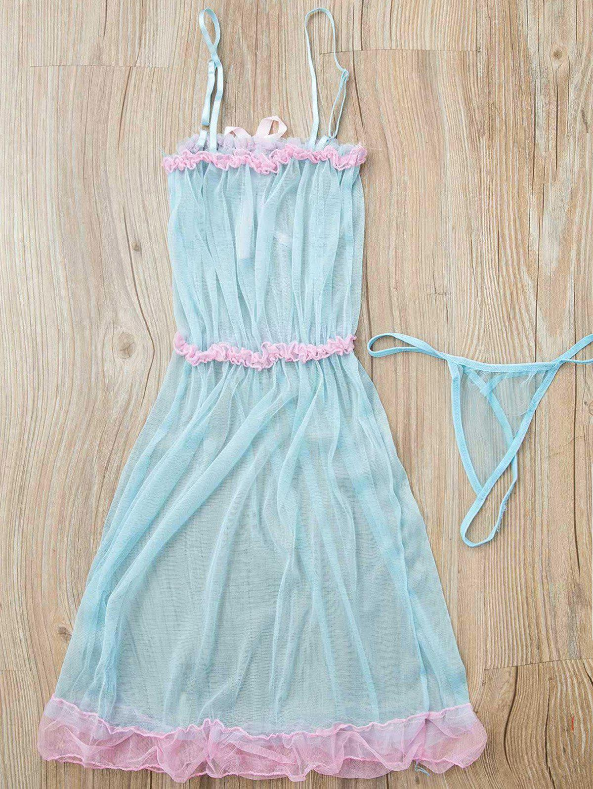 Charming Layered Ruffles Lace Hem Dress For Women - WATER BLUE ONE SIZE