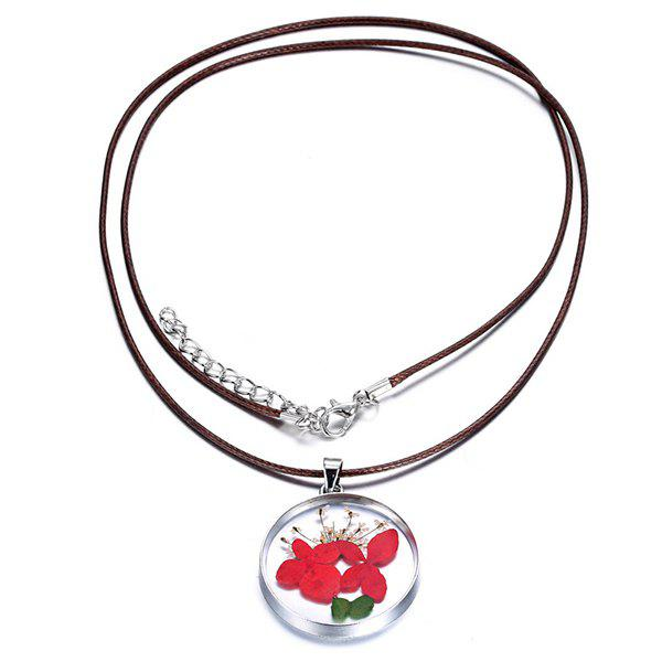 Dry Leaf Flower Circle Necklace - RED