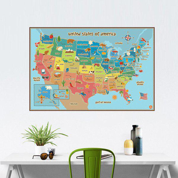 Fashion Colored America Map Pattern Wall Sticker For Bedroom Livingroom Decoration