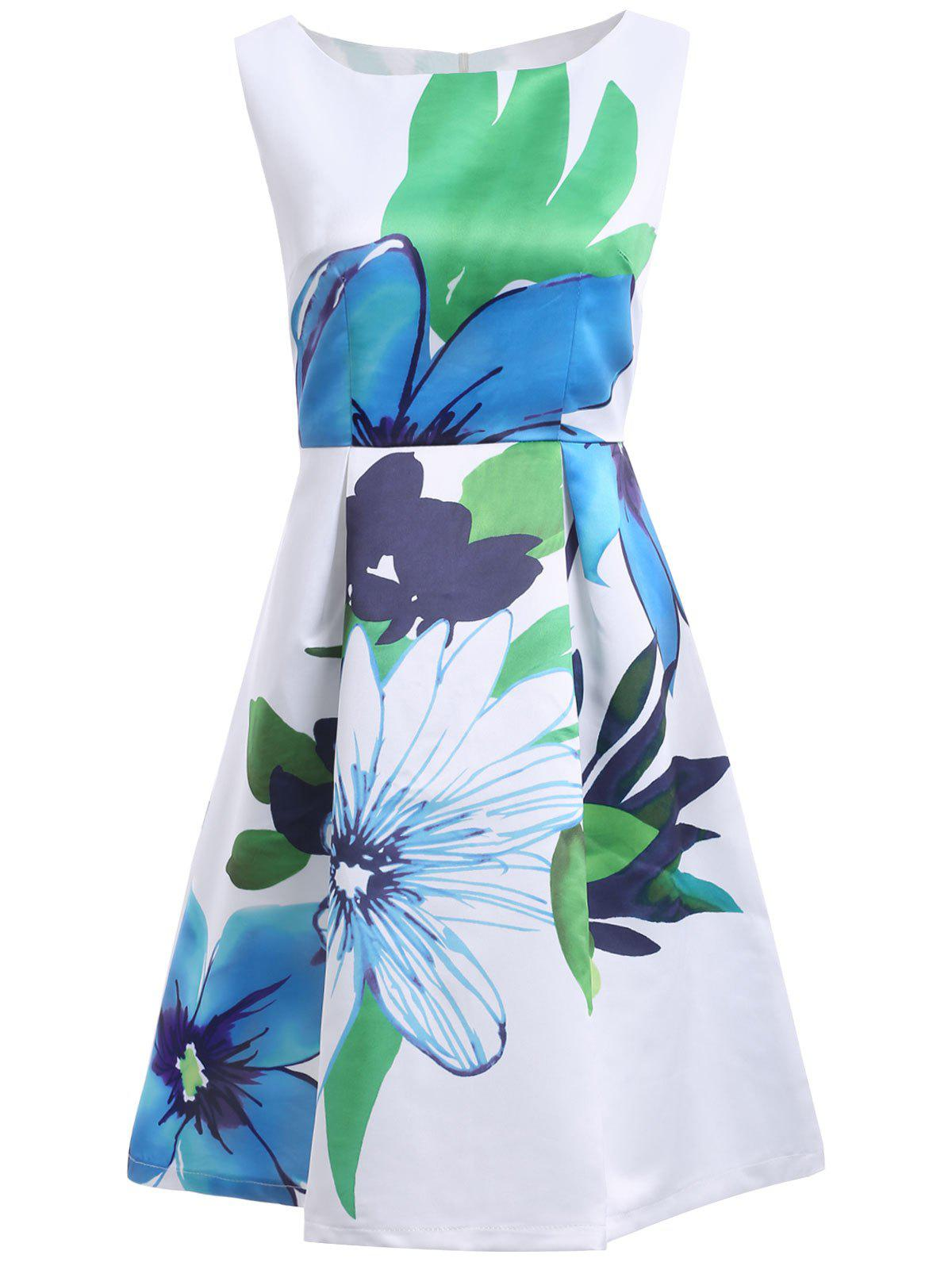 Trendy Jewel Neck Sleeveless Floral Print Womens Pleated DressWomen<br><br><br>Size: L<br>Color: WHITE
