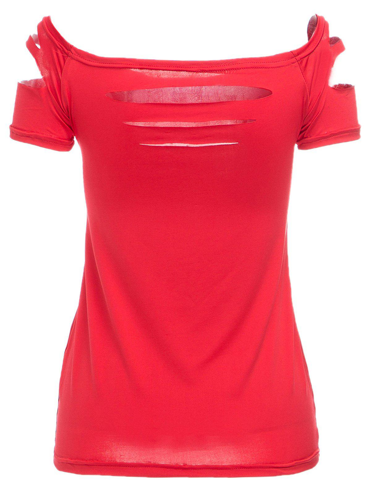 Elegant Scoop Neck Short Sleeve Hollow Out T-Shirt For Women - RED L