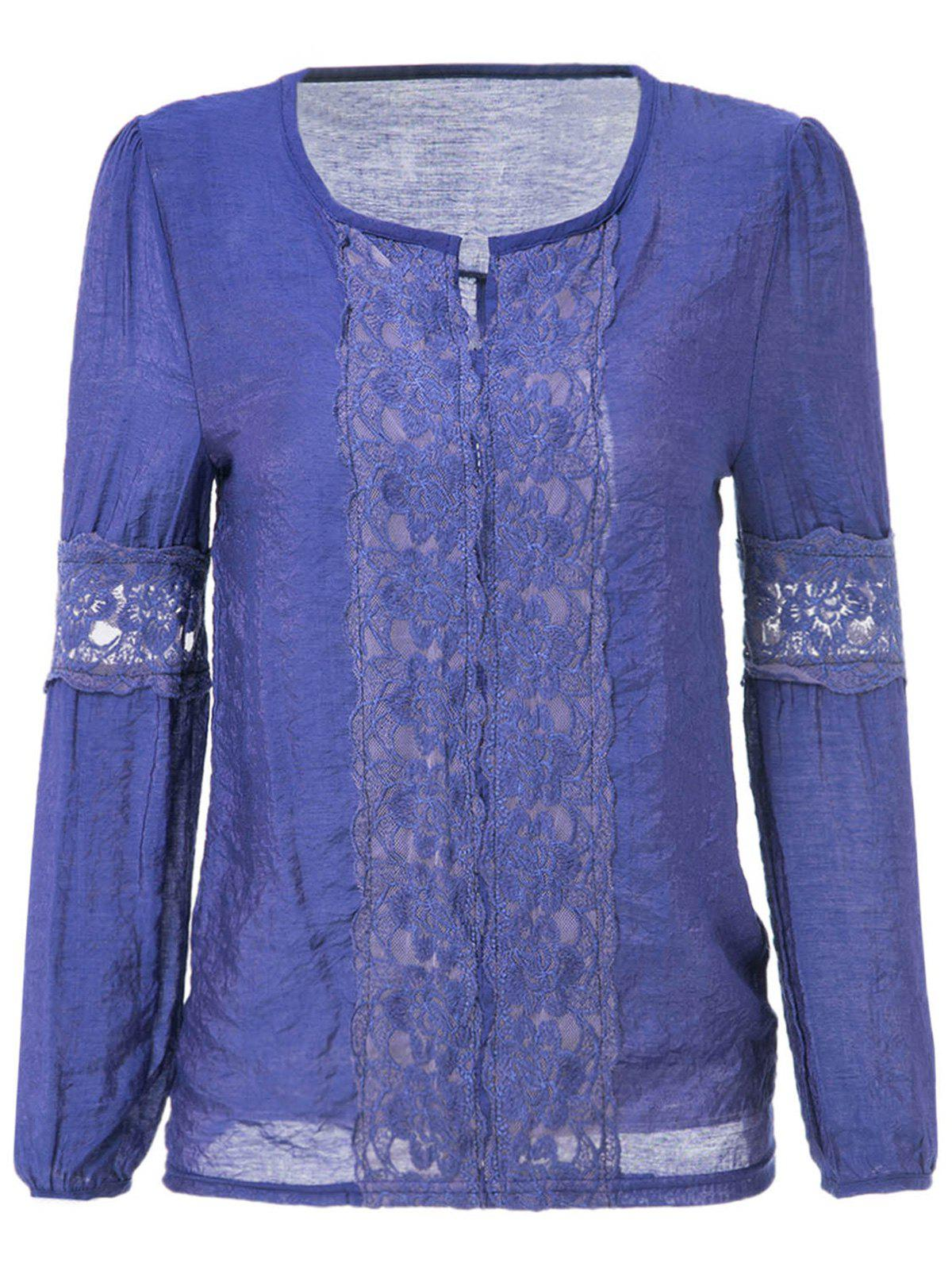 Lace Splicing Solid Color V-Neck Puff Sleeve Ladylike Blouse - DEEP BLUE ONE SIZE
