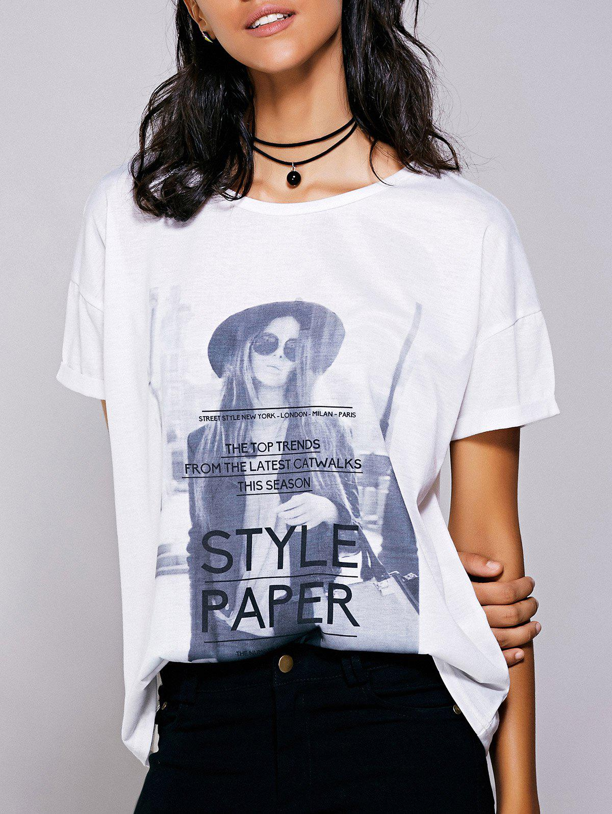 Casual Women's Short Sleeves Figure Print T-Shirt - WHITE L