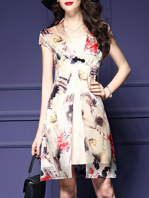 Chic Cami Dress+ Printed Chinese Frog Button Kimono Women's Twinset