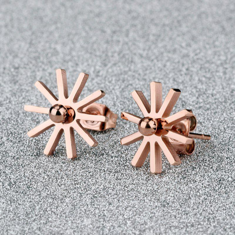 Pair of Simple Solid Color Floral Shape Stud Earrings For Women